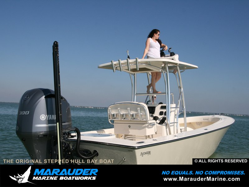 Great photo of a custom bay fishing boat in Stepped Hull Bay Boats photo gallery from Marauder Marine Boat Works