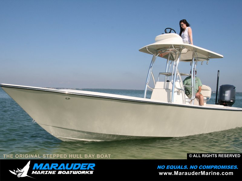 Photo of our largest custom fishing boat with integrated stepped hull in Stepped Hull Bay Boats photo gallery from Marauder Marine Boat Works