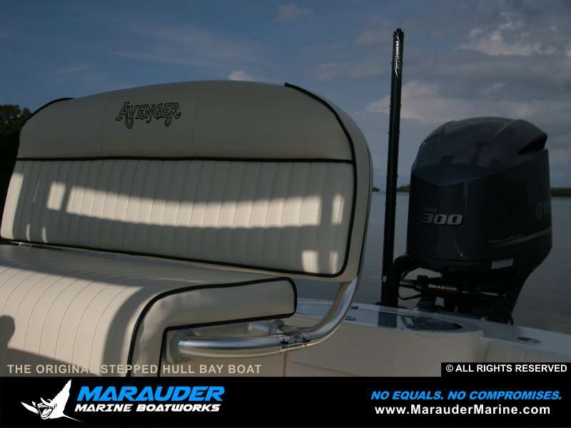 Custom tailored seat option shown with stepped hull fishing boat in Stepped Hull Bay Boats photo gallery from Marauder Marine Boat Works