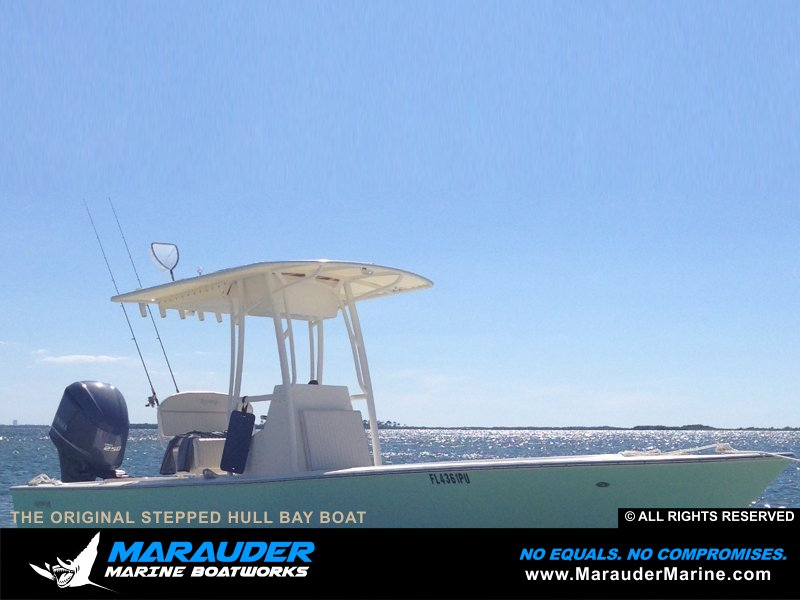 Stepped hull bay boat design photos in Stepped Hull Bay Boats photo gallery from Marauder Marine Boat Works