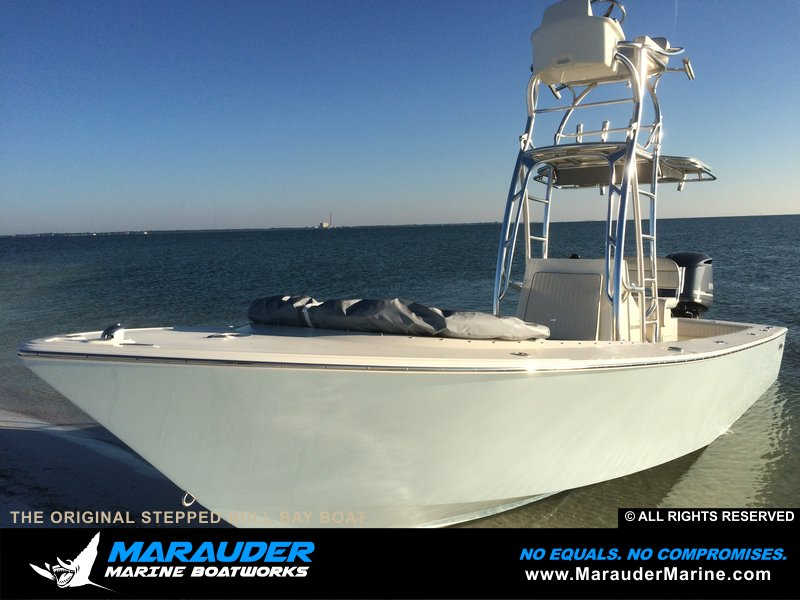 Example of fishing boat with stepped hull in Stepped Hull Bay Boats photo gallery from Marauder Marine Boat Works